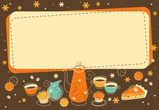 Tea and  bakery background in doodle retro style Stock Images