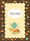 Tea and  bakery background in doodle retro style Royalty Free Stock Photo