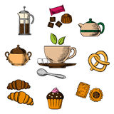 Tea, bakery and pastry objects Stock Photos