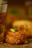 Tea and baklava pastry Royalty Free Stock Images