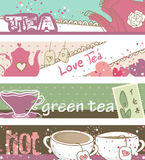 Tea banners. Horizontal, vintage style Tea banners Royalty Free Stock Images