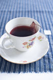 Tea basket in tea cup. Tea basket in porcelain tea cup Stock Images