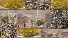 Tea being poured into glass tea cup, Green tea leaves close up rotation, collage. Multiscreen. stock video footage
