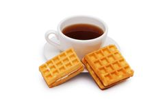 Tea and belgian waffles isolated Royalty Free Stock Image