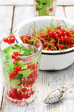 Tea with berries and leaves of currant Stock Photography