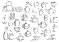 Tea and beverages hand drawn objects Royalty Free Stock Image