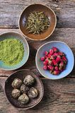 Tea - big leaf green tea rose, powder Matcha tea, flowering tea Royalty Free Stock Photography