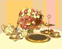 Tea and bilberry pie. Stock Photos
