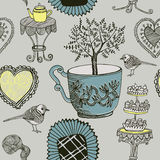 Tea and birds. vector illustration