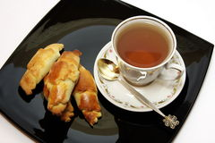 Tea biscuit. Shortbread biscuits and a cup of tea Royalty Free Stock Image