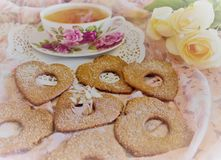 Shortbread cookies in the shape of hearts Stock Images
