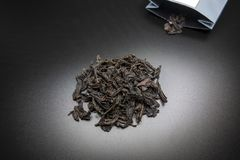 Tea in Black Background. Chinese Black Tea in Black Background stock photo
