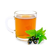 Tea with black currant in glass mug Royalty Free Stock Photos