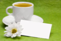 Tea with blank tag Stock Photography