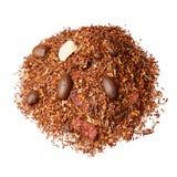 Tea blend of guarana, coffee, hazelnut, goji berries. Orange tea. stock photo