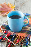 Tea in blue cup Royalty Free Stock Images