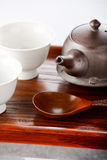 Tea bowls with teapot Stock Photo
