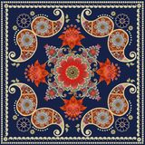 Tea box packaging design. Unique square carpet in indian style with red flowers and paisley pattern. Bandana print Royalty Free Stock Photos