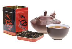 Tea box, teapot and cup Royalty Free Stock Photography