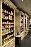 Tea boxes on store shelves Royalty Free Stock Photography