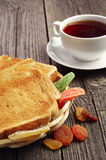 Tea, bread and dried fruit Royalty Free Stock Photos