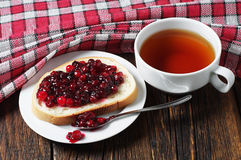 Tea and bread with jam Stock Photo
