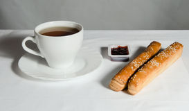 Tea and bread with jams Stock Photo
