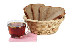 Tea and bread one Royalty Free Stock Image