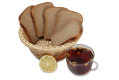 Tea and bread two Stock Image