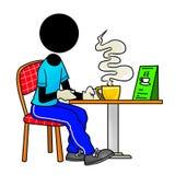 Tea break. Silhouette-man in work - tea break Royalty Free Stock Image