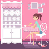 Tea break. Pretty girl having a cup of tea vector illustration