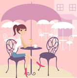 Tea break. A pretty girl having tea break royalty free illustration