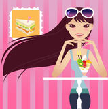 Tea break. A pretty girl having tea break vector illustration