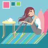 Tea break. A pretty girl having tea break Vector Illustration