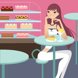 Tea break. A pretty girl having tea break Royalty Free Illustration