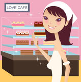Tea break. A pretty girl having tea break stock illustration