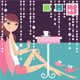 Tea break. Having tea break at home vector illustration
