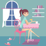 Tea break. Having tea break at home royalty free illustration
