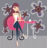 Tea break. Having tea break at home stock illustration
