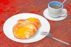 Tea break with crunchy pie Royalty Free Stock Photo