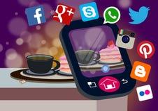 Tea break and food selfie concept. Internet logo flat design  with tea break concept illustration Stock Photos