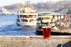 Tea break on Galata Bridge Royalty Free Stock Photography