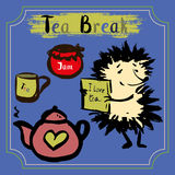 Tea break. Hedgehog with a mug of tea, tea and jam. Hand Drawn vector Stock Image