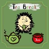 Tea break. Hedgehog with a mug of tea, tea and jam. Hand Drawn vector Royalty Free Stock Photo