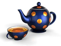 Tea break (Hi-Res). Deep blue teapot with orange points and one cup of tea. Isolated on white. 3D render Royalty Free Stock Photography