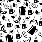 Tea break pattern seamless. Vector illustrations of tea break pattern seamless Stock Images