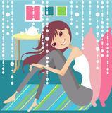 Tea break relax. Having tea break at home stock illustration