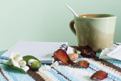 Tea break and relax time. With notepaper Stock Photography