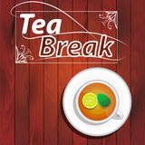Tea break, tea cup and saucer. Green tea with lemon and mint, lettering break for tea, wooden background Stock Images