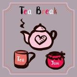 Tea break. Time , hand drawn vector illustration Stock Photos